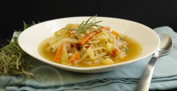 Country braised cabbage soup (vegan option, gluten-free, paleo)