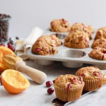 Cranberry, orange and chocolate chip low-gluten muffins