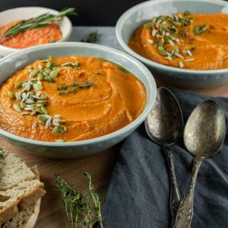 25 min carrot and red lentil Indian-style soup