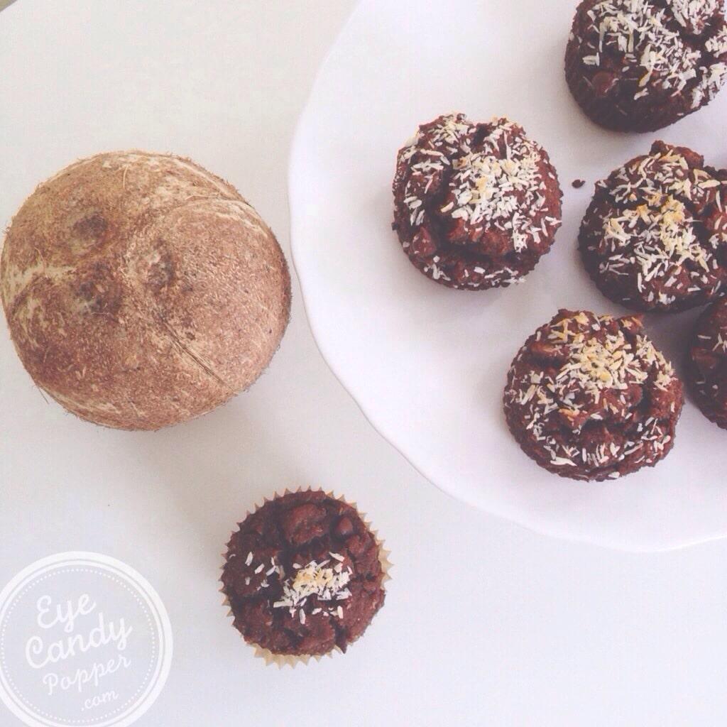 Chocolate coconut dessert muffins (gluten-free, vegan, sugar-free ...