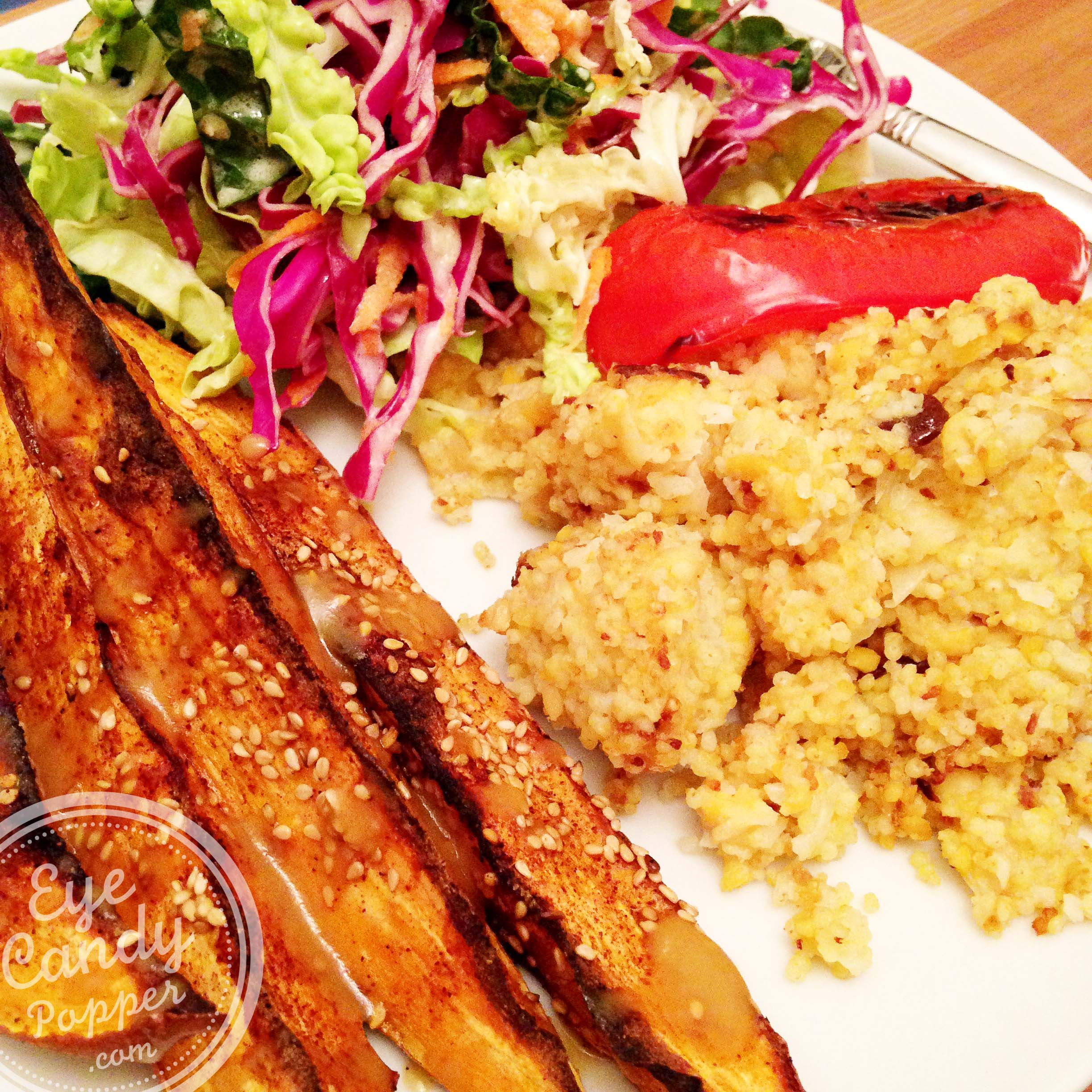 roasted-amaranth-and-cauliflower-red-pepper-sweet-potato-wedges-and ...