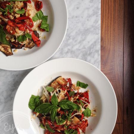 Meatless Monday: oven-roasted vegetable pasta (gluten-free, vegan option)