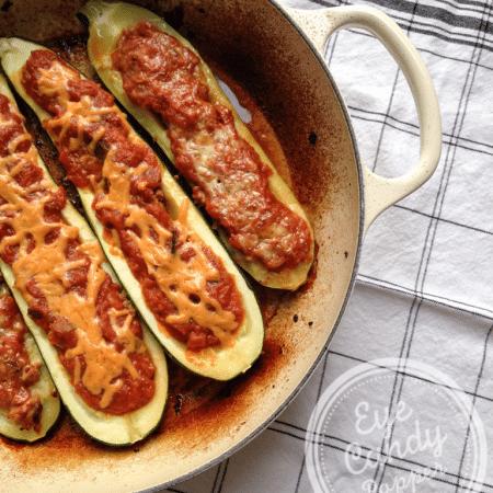 Spicy zucchini boats (paleo, gluten-free, vegan option)