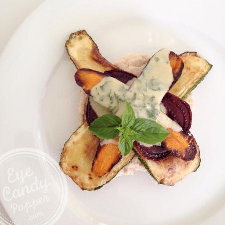 Meatless Monday: Roasted veggie sandwich with hummus and tahini dressing (vegan)