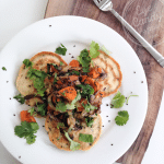 Meatless Monday: Savoury pancakes + roasted vegetables (dairy-free, gluten-free, vegan option)