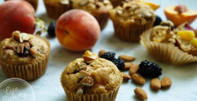 Wheatless Wednesday: Peach Blackberry muffins (dairy-free, low-gluten with gluten-free option)