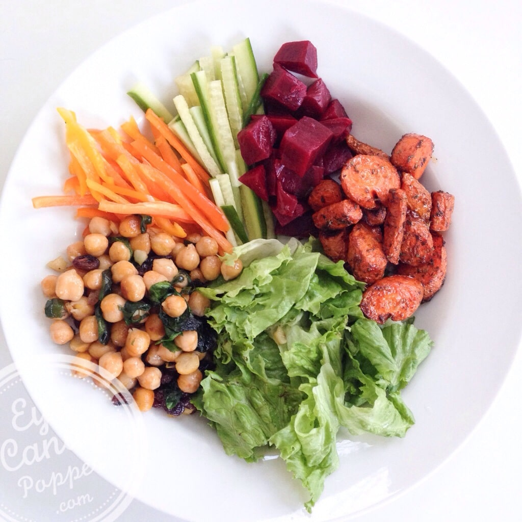... Herbed-roasted carrots, spinach sautéed chickpeas and pickled beets