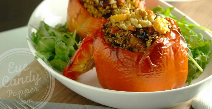 Meatless Monday: Quinoa-stuffed sweet peppers and arugula (vegan, gluten-free)