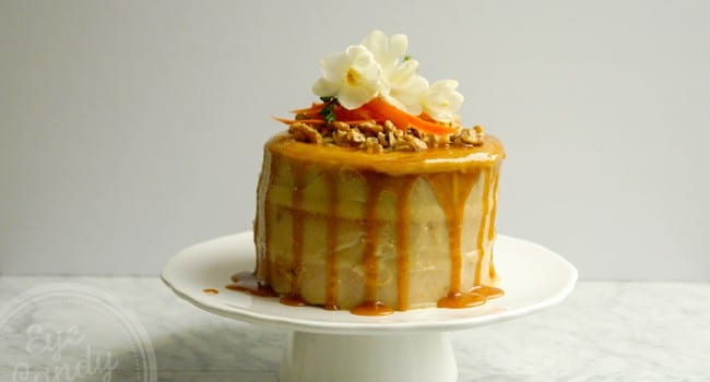 Healthy Carrot Cake with Cashew icing and Maple Caramel (dairy-free, low sugar, vegan option, low gluten, gluten-free option)