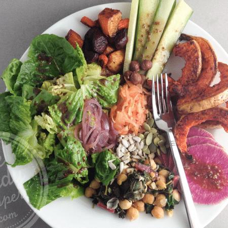 Spiced roasted butternut and beet salad bowl (vegan, paleo, gluten-free)