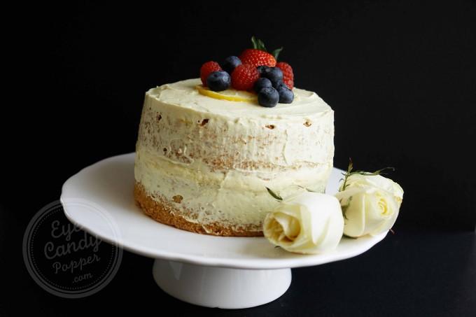 Olive oil lemon sponge cake with dairy-free custard (low gluten, no wheat, low sugar, dairy-free, wholegrain)