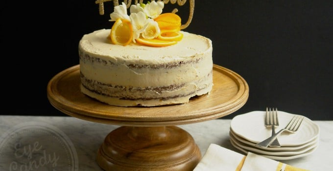 Boozy Orange Chocolate Naked Cake (gluten-free, dairy-free, low sugar, vegan option)