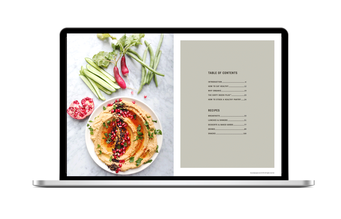 Real. Good. Food. eCookbook table of contents on a MacBook