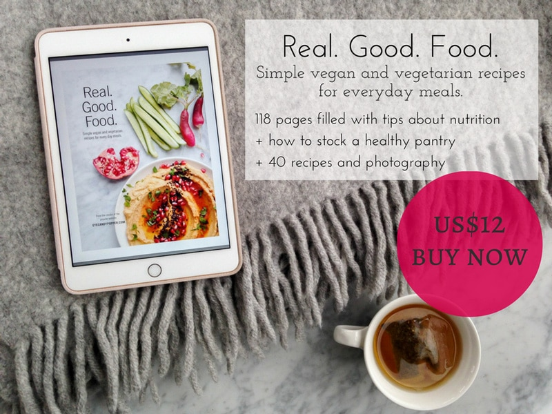 Real. Good. Food. cookbook on iPad with Blanket and Tea