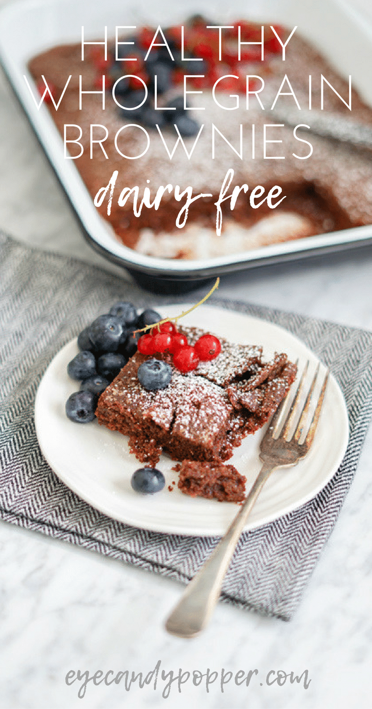 Healthy Whole Grain Chewy Brownies | Dairy-Free | Low Sugar