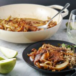 Easy weeknight caramelized onion, pears and organic pork chops