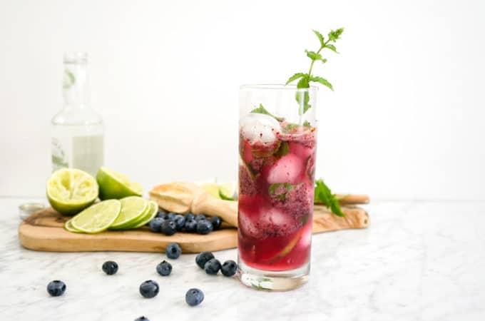 Healthy Blueberry Kombucha Mojito