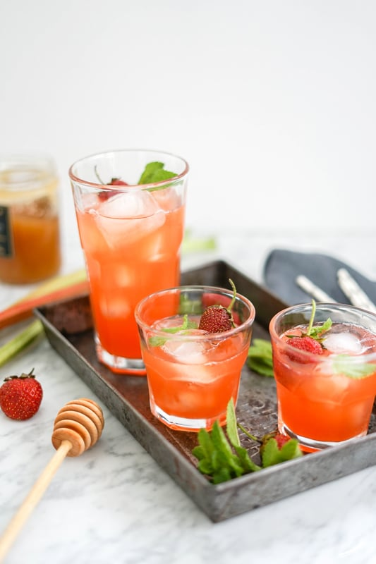 Strawberry Rhubarb Lemonade in 3 glasses
