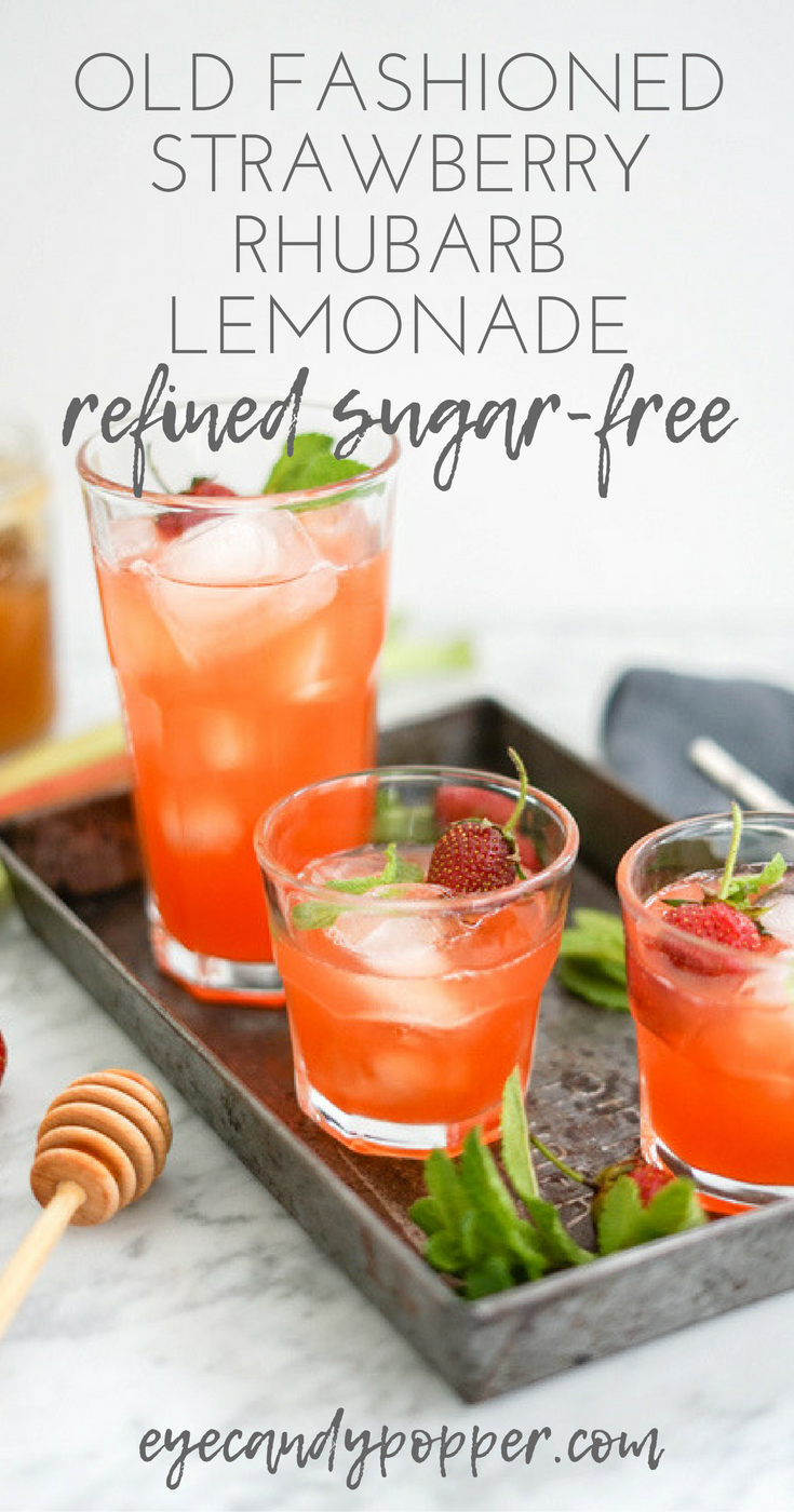 Old Fashioned Strawberry Rhubarb Pink Lemonade | Refined Sugar-Free