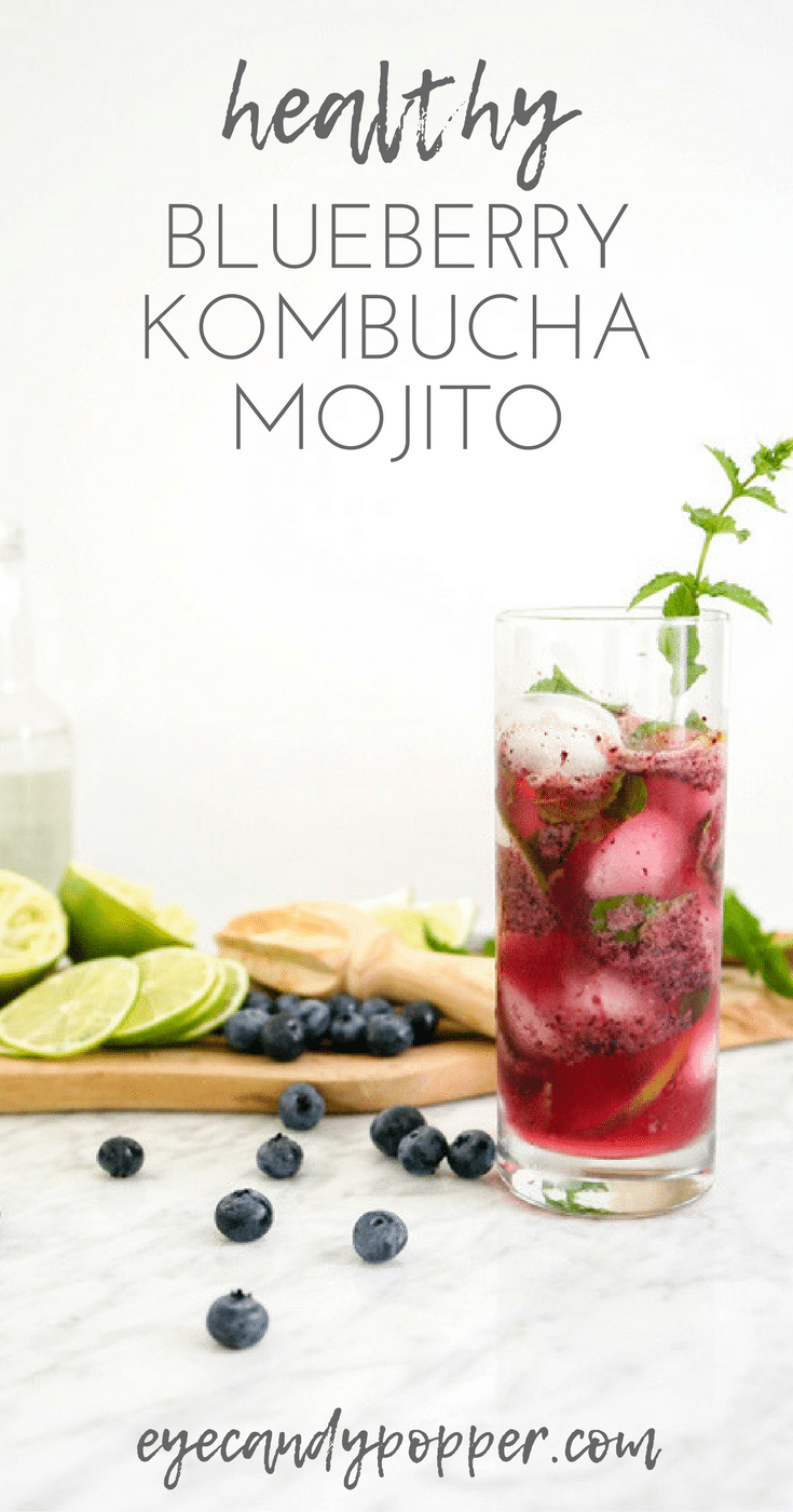 Healthy Blueberry Kombucha Mojito | Vegan