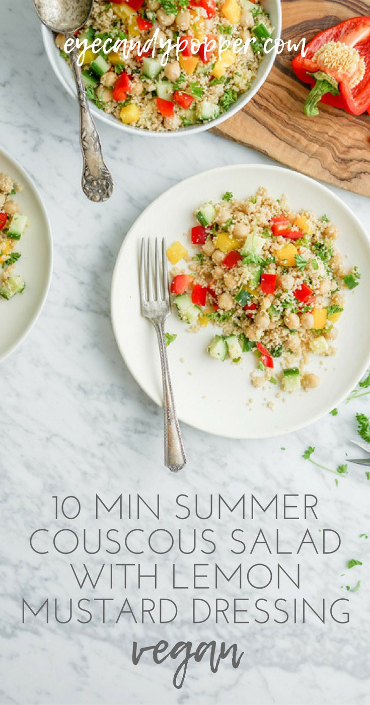 10 Min Summer Couscous Salad with Lemon Mustard Dressing | Vegan