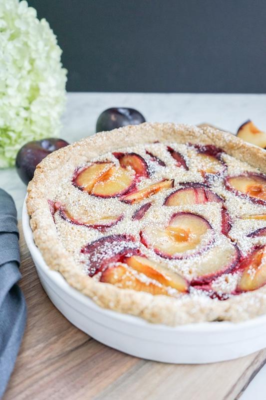 close-up vertical view of plum tart