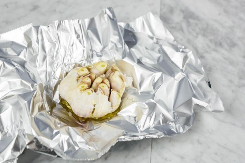 roasted garlic in aluminum foil