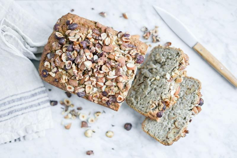 top down view of gluten-free vegan banana bread