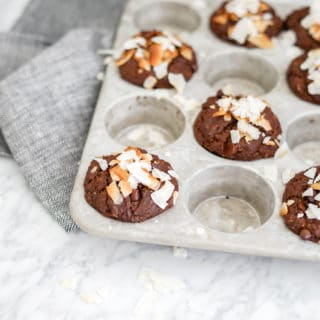 Horizontal front view of chocolate muffins in tin