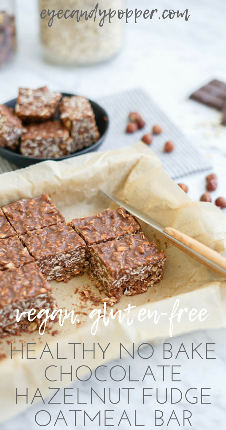 Healthy No Bake Chocolate Hazelnut Fudge Oatmeal Bar | Vegan | Gluten-Free | Refined Sugar-Free
