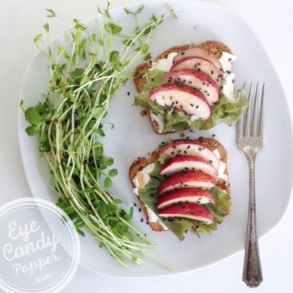 Balsamic nectarine and fresh chèvre on toast   eyecandypopper.com