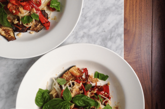 oven-roasted vegetable pasta (gluten-free, vegan option)