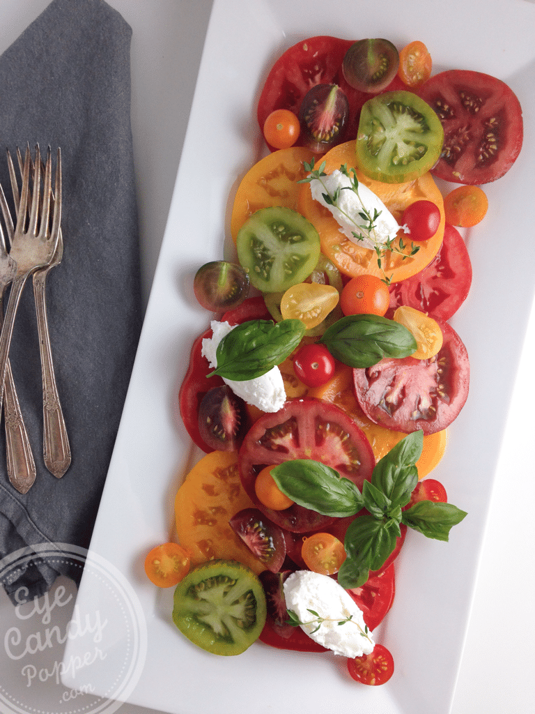 Quick heirloom Tomato Salad with Goat Cheese | Vegetarian or Vegan