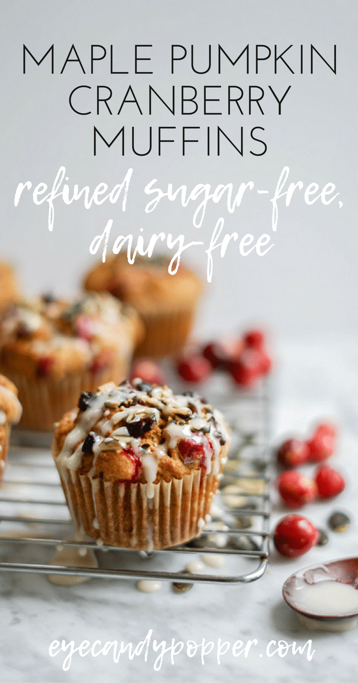 #DairyFree Maple Pumpkin Cranberry Muffins | Refined Sugar-Free, #Vegan + #GlutenFree Options