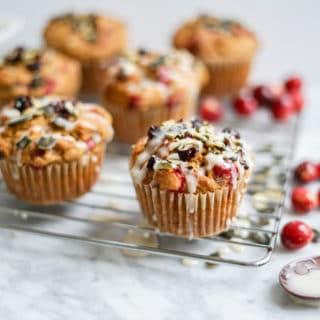 Dairy-Free Maple Pumpkin Cranberry Muffins | Refined Sugar-Free, Vegan + Gluten-Free Options