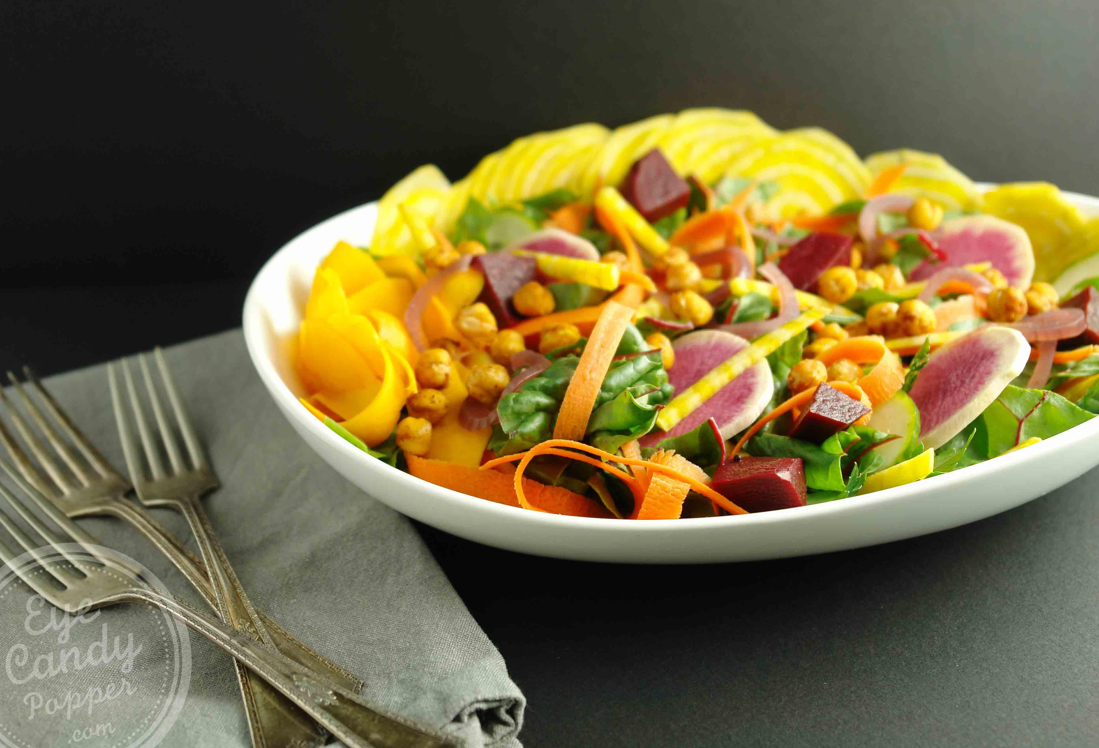 Fall Veggie Salad With Chickpea Croutons Vegan Gluten Free Paleo All Vegetarian