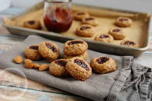 healthy almond raspberry thumbprint cookies