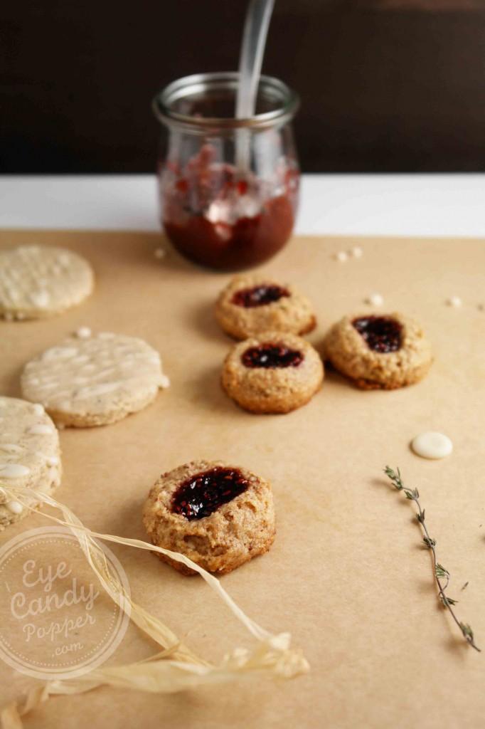 Almond Raspberry Thumbprint Cookies (vegan, paleo, gluten-free, no sugar added)