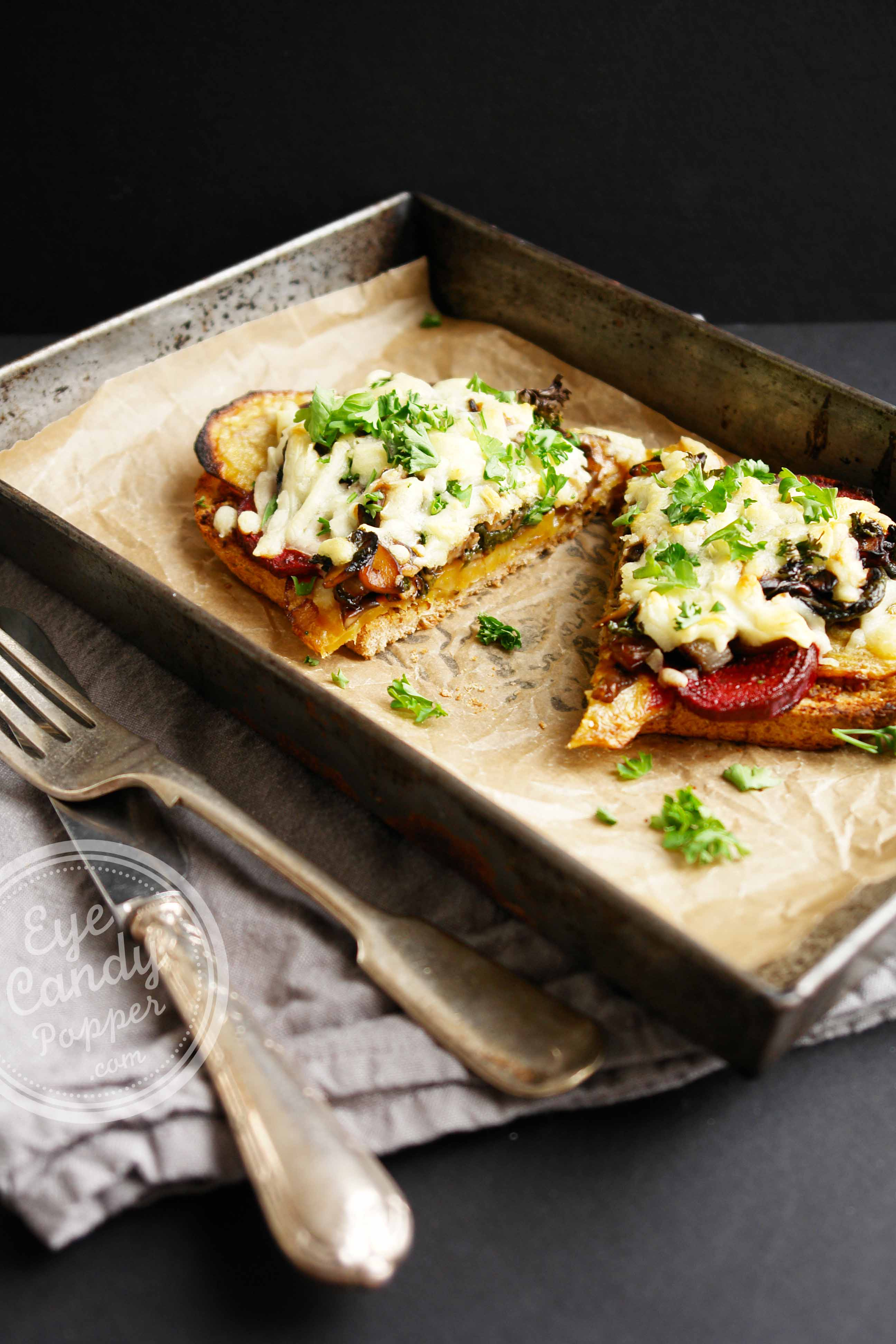 Balsamic Mushroom Toast with grain mustard and roasted beets
