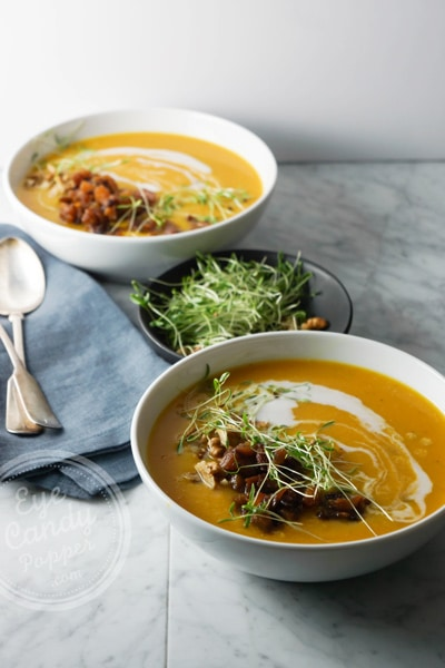 Roasted garlic and butternut soup with apple chutney and crunchy toppings