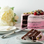 Two Tone Pink Chocolate Cake | Spelt, Dairy-Free, No Dye