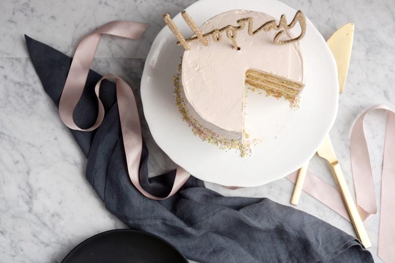 Pink Champagne Cake On a Kombucha Budget
